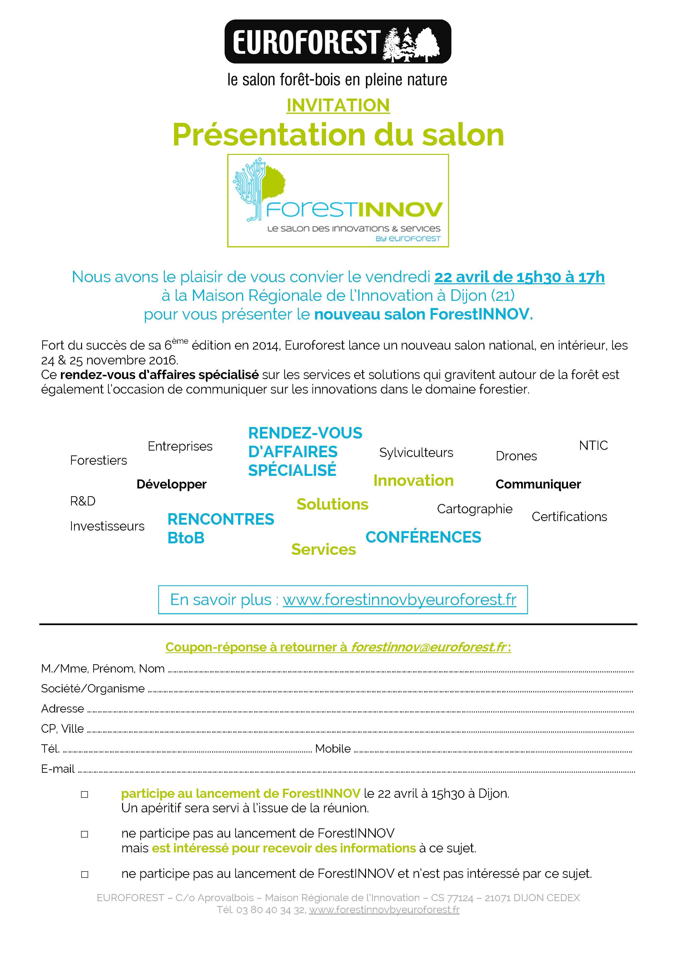 Invitation lancement ForestINNOV